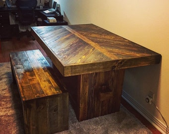 Reclaimed Wood Dining Table | Rustic/Modern Dining Table and Bench | Rustic Dining Table | Dining Table | Rustic Bench