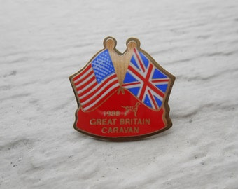 Vintage USA Great Britain Flag Pin. 1988