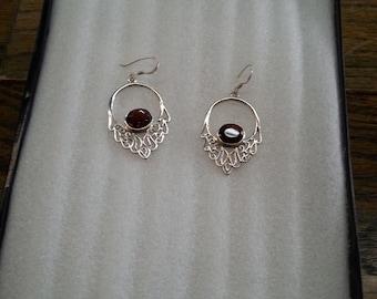 sterling silver boho style garnet daggle earrings