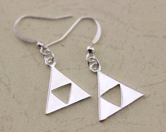 silver Triforce Zelda earrings The Legend of Zelda inspired jewelry Metal Pendant gift C366E_S