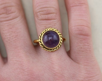 Amethyst Rope Noveau Design Ring Christmas Gifts