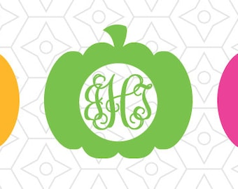 Halloween Pumpkin Monogram Frame Decal, DXF, SVG and AI Vector Files for your Cricut or Silhouette Vinyl Cutting Machine