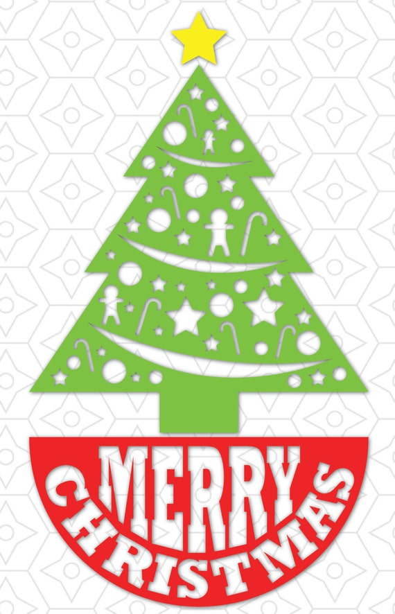 Merry Christmas Tree Skirt Decal SVG DXF and AI Vector Files