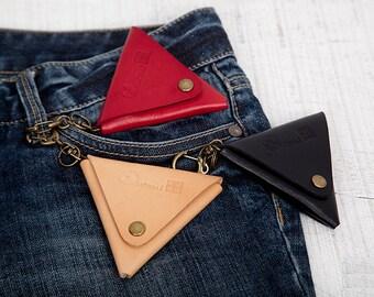 Genuine Leather Triangle Coin Purse Key Chain
