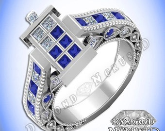 Doctor Who Inspired Tardis Blue Sapphire & Swarovski Diamond Sterling Silver or White Gold Deluxe Ring