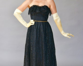 David Robin Strapless Lace Party Midi Dress with Bust Ruffle - Black - 1970s/70s (Medium)