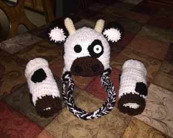 Cow Hat with leg warmers
