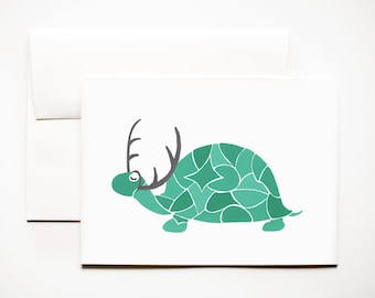 Mosaic Turtle with Antlers, Holiday/Christmas Greeting Card 5x7 (A7)