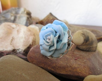Rose ring Blue rose ring Polymer clay Handmade Wonderful gift for her for woman for girl for best girlfriend Unique gift