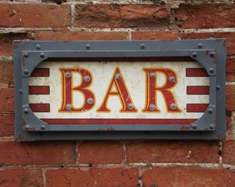 A vintage industrial style light up Bar sign led ideal for marquee ,weddings or man cave