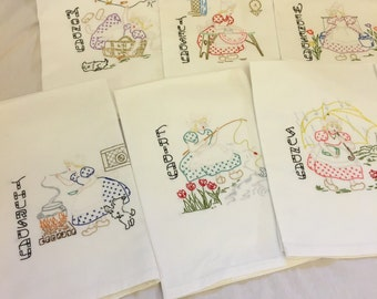 Hand Embroidered Days of the Week Tea Towels with Swedish Girls