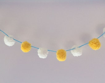 PomPom Garland - Bunting for birthday blue yellow white