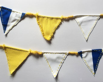 Pennant Garland made of fabric - decoration for birthday, wedding or nursery in white yellow blue