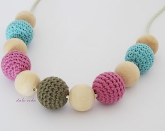 Pink and green nursing necklace