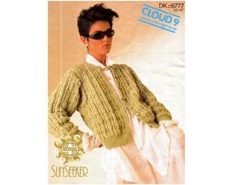 Genuine Vintage 1980s Sirdar c6777 Lacy Aran Ladies Unusual Cardigan with a Twist Knitting Pattern
