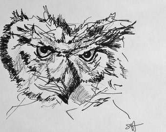 Skeptical Owl in Ink, Naturally