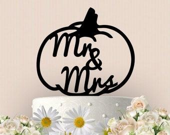 Mr and Mrs Pumpkin Cake Topper