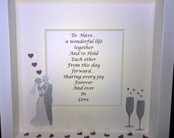 Bespoke Wedding Gift - 3d personalised Wall Art Frame
