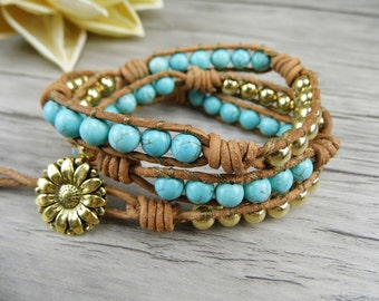 turquoise beads Leather wrap Bracelet blue beaded Wrap Bracelet 3 Rows Bracelet Brass Beads Bracelet Boho Bacelet beadwork Jewelry  SL-0060