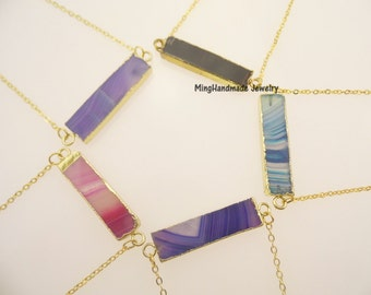 Square Agate Pendant Necklace Gold edge Rainbow natural stone bar necklace TNK-0016