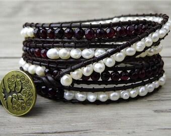 Garnet Wrap bracelet Freshwater Pearl wrap bracelet womens Boho beaded bracelet leather wrap bracelet gypsy bead bracelet jewelry SL-0158