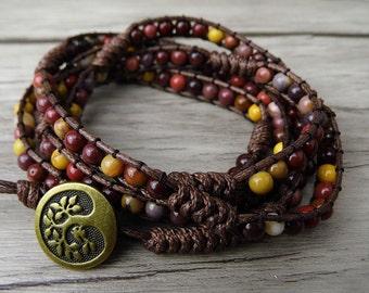 boho wrap bracelet yoga beaded bracelet Mookaite bead wrap bracelet  gypsy gemstone beads bracelet beadwork jewelry SL-0156
