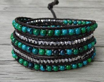 boho Leather Wrap Bracelet Green gemstone bracelet bohemian 5 wraps bracelet natural stone bead Bracelet yoga bead leather Bracelet SL-0262