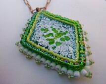 Copper Enamel Pendant, Green, Seed Beads, Glass Beads, Toho, Bead Embroidery, Harajuku, Teal, White, Iridescent, Seventies, Mod