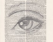 Pencil Eye Drawing Print Vintage Dictionary Art Print Black and White Laser Ink Printed on Vintage Dictionary Pages One of a Kind