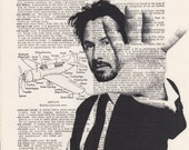 Matrix Neo Print Vintage Dictionary Art Print Black and White Laser Ink Printed on Vintage Dictionary Pages One of a Kind