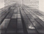 Building Skyline Dictionary Art Print Black and White Laser Ink Printed on Vintage Dictionary Pages One of a Kind