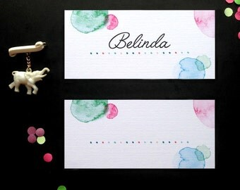 Printable Place Card Personalised Stationary. Confetti Wedding Stationary Suite.