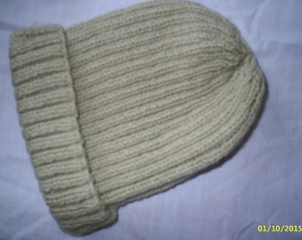 Hand Knitted Ribbed Hat