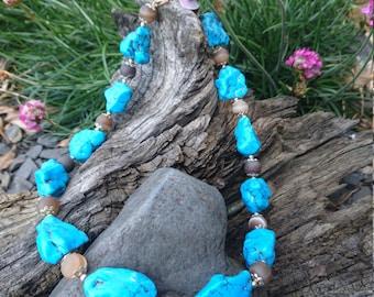 Chunky Turquoise nugget & Botswana Agate necklace