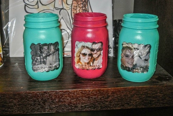 Custom Hand Painted Mason Jars Custom Picture Framed