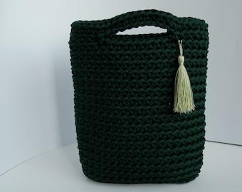 Green crochet rope bag/knitted handbag/woman accessories/fashion/sand/market bag/handmade crocheted bag