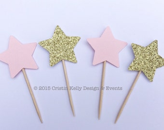 12 Gold Glitter & Light Pink Star Cupcake Toppers. Bridal Shower. Birthday Party. Baby Shower. First Birthday. Gender Reveal Party Decor