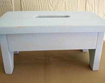 Wooden Stool, Stepstool, Bench - Light Blue, Nursery, Bathroom