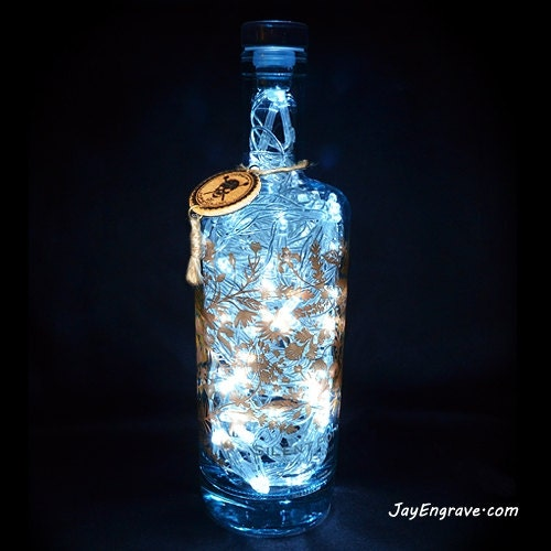 Silent pool gin upcycled 70cl 80 led bottle lamp light by - Silent pool gin ...