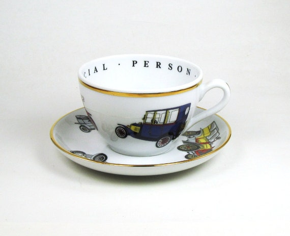 Old Cars Cup and Saucer from Princess House Crystal, 1980s