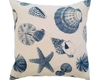 Sea Shells Cushion Cover in Blue
