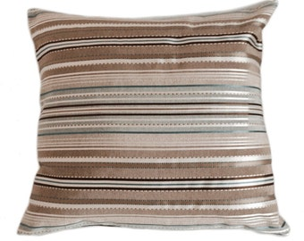 Textured Cushion Cover in Neutral & Pale Blue Stripes