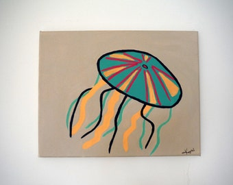 Jelly Fish Painting, Nautical Jelly Fish- Original Acrylic Painting- 11x14 Beach House