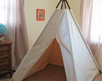 Children's 7' Canvas 4-Pole Tepee Tent