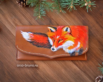 Tan leather woman purse with Fox, Womens leather wallet, Fox Wallet Leather, Fox Purse, Women's Wallet, Leather Wallet,  Wallet Fox.