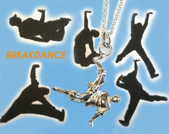 Breakdance, dance necklace, dance jewelry, gift for dancer, silver necklace, silver pendant.