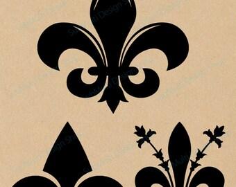 Fleur-de-lis silhouette / fleur de lis SVG Cutting Templates  / Svg / Eps / Dxf / Png, / flower silhouette, Scrapbooking /svg / HQ