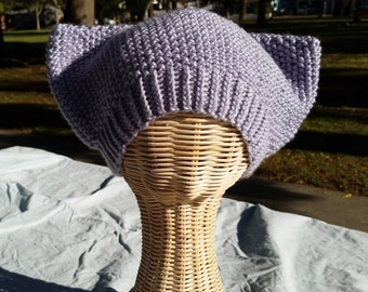 Adult Handknit Cat-Ear Hat in Lavender