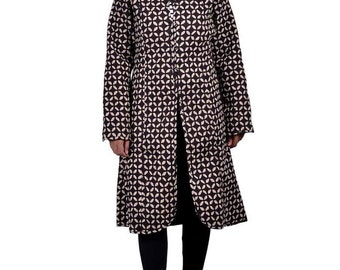 Black Floral Long Quilted Coat
