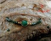 Beaded Bracelet, Sterling Silver, Green Beads Bracelet, Gemstone Bracelet, Quartz Emerald Stone, Crystal Bracelet, Woven Bracelet